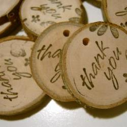 100 Wooden Tree Branch Charms Thank You